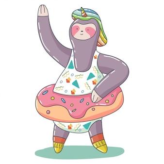 Lindo unicornio perezoso con donut flotador inflable anillo de goma vector de dibujos animados carácter animal aislado