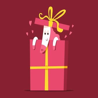 Lindo unicornio en personaje de dibujos animados de caja de regalo aislado sobre fondo.