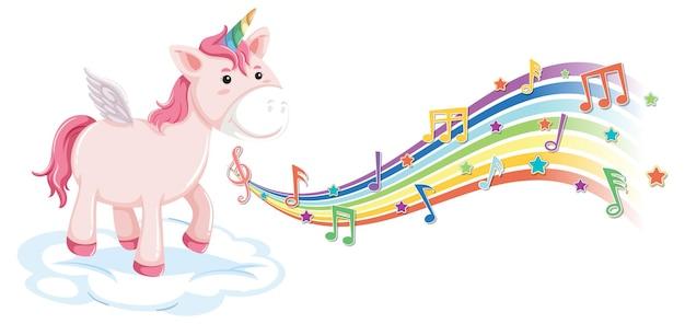 Lindo unicornio de pie en la nube con símbolos de melodía en arco iris