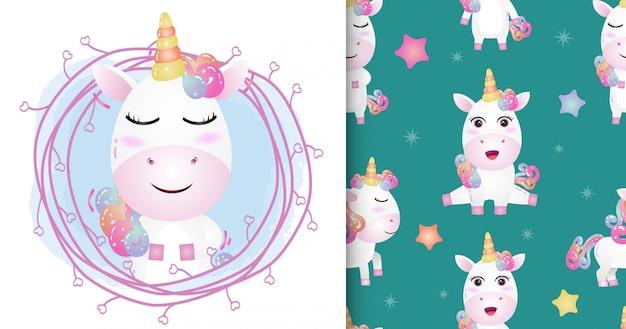Lindo unicornio con ramitas de patrones sin fisuras y diseños de ilustraciones