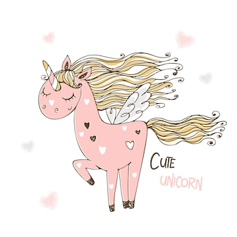 Lindo unicornio rosa con alas.