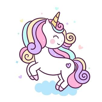 Lindo unicornio salta en el aire