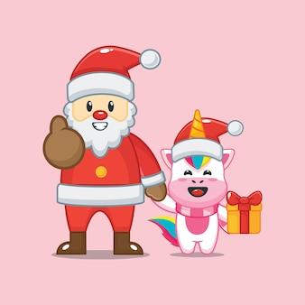 Lindo unicornio con santa claus en el día de navidad linda ilustración de dibujos animados de navidad
