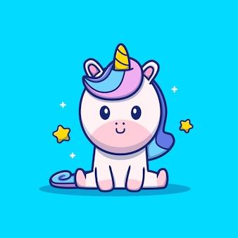 Lindo unicornio sentado icono ilustración. concepto de icono animal aislado. estilo plano de dibujos animados