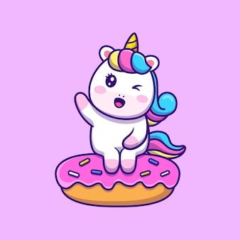 Lindo unicornio sentado en la ilustración de icono de vector de dibujos animados de donut.