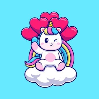 Lindo unicornio sentado en la nube con arco iris y amor globo ilustración de dibujos animados. concepto de naturaleza animal aislado. estilo de dibujos animados plana