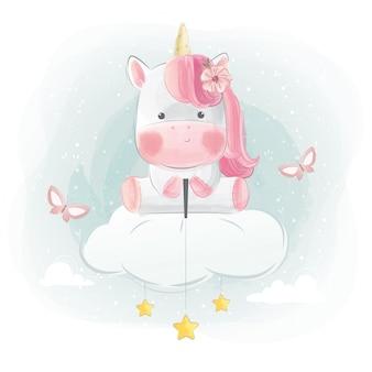 Lindo unicornio sentado en la nube