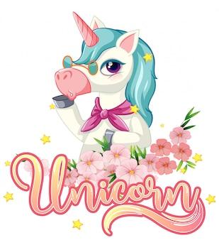 Lindo unicornio con signo de unicornio