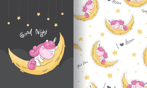 Lindo unicornio soñando ilustración de patrones sin fisuras para niños