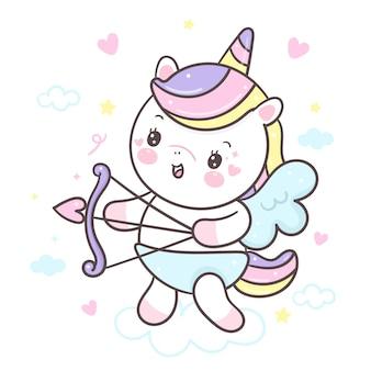 Lindo unicornio sosteniendo flecha cupido