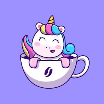 Lindo unicornio en taza de café ilustración vectorial de dibujos animados concepto de comida y bebida animal aislado vector premium. estilo de dibujos animados plana