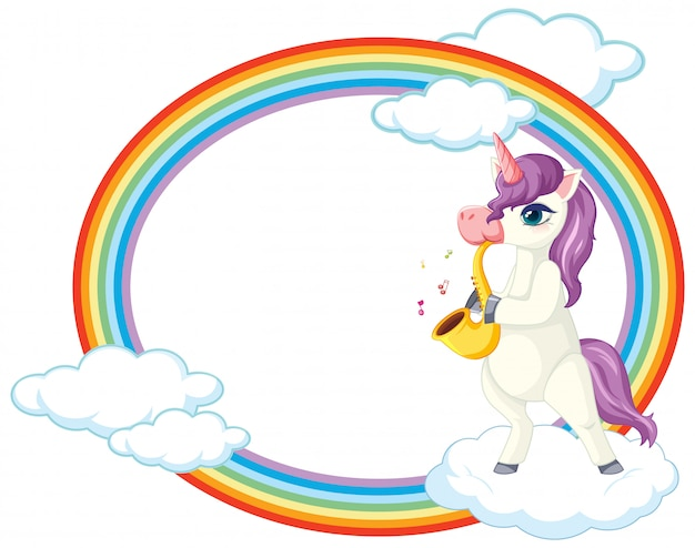 Lindo unicornio con tema de música de banner en blanco