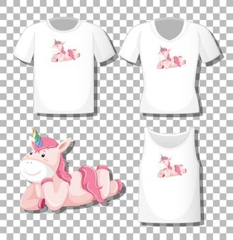 Lindo unicornio tendido personaje de dibujos animados con un conjunto de diferentes camisas aislado sobre fondo transparente