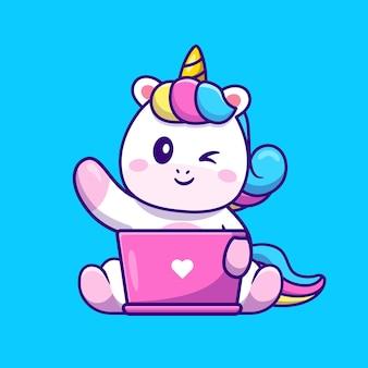 Lindo unicornio trabajando en la ilustración de icono de vector de dibujos animados portátil. concepto de icono de tecnología animal aislado vector premium. estilo de dibujos animados plana