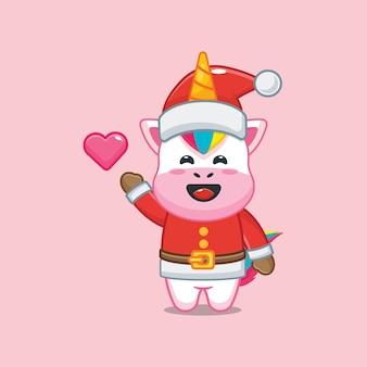 Lindo unicornio con traje de santa en el día de navidad linda ilustración de dibujos animados de navidad