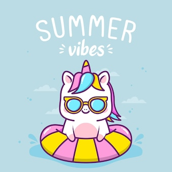 Lindo unicornio en vacaciones de verano
