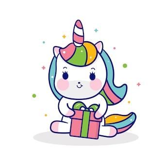 Lindo unicornio vector abrazo regalo de navidad