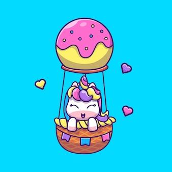 Lindo unicornio volando icono ilustración. personaje de dibujos animados de mascota unicornio. concepto de icono animal aislado