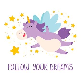 Lindo unicornio vuela en el cielo estrellado.