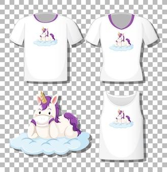 Lindo unicornio yacía en el personaje de dibujos animados de la nube con un conjunto de diferentes camisas aisladas sobre fondo transparente
