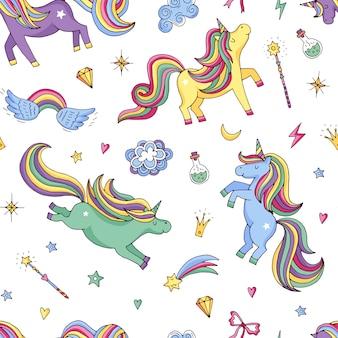 Lindo unicornios mágicos dibujados a mano y estrellas patrón o fondo