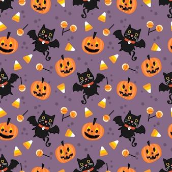 Lindo vampiro y patrón transparente de calabaza de halloween