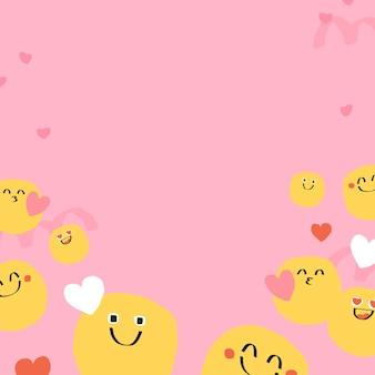 Lindo vector de fondo de doodle emoji con signo de corazón