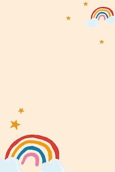 Lindo vector de marco de arco iris en fondo beige estilo lindo dibujado a mano