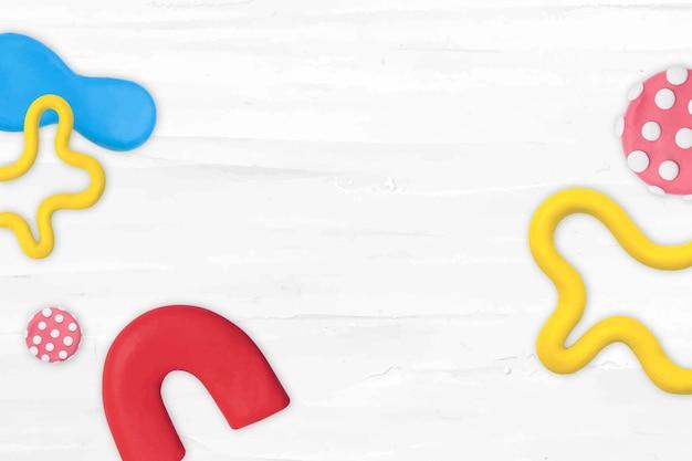 Lindo vector de marco con patrón de arcilla con textura, arte creativo de bricolaje para niños