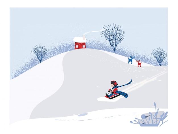 Lindo vector minimalista de la temporada de invierno. escena del paisaje invernal de nowey con niño feliz montando en trineo con el perro. sombra de pino y muñeco de nieve sobre nieve blanca y bosque caducifolio.