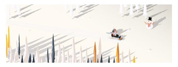 Lindo vector minimalista de la temporada de invierno. paisaje panorámico de invierno snowey con niño feliz montando en trineo. sombra de pino y muñeco de nieve sobre nieve blanca con follaje amarillo y bosque caducifolio.