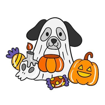 Lindo vector de perro de halloween.