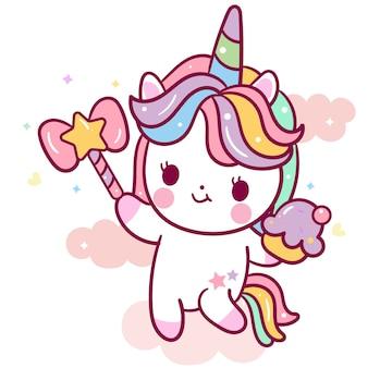 Lindo vector de unicornio con dibujos animados de cupcake y varita