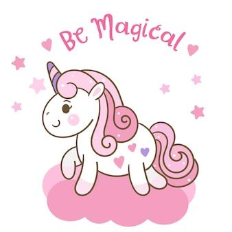 Lindo vector de unicornio en podría con estrella