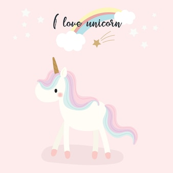 Lindo vector de unicornio.