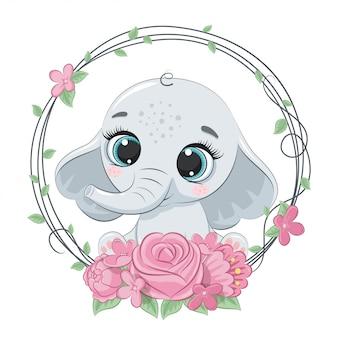 Lindo verano bebé elefante con corona de flores. ilustración