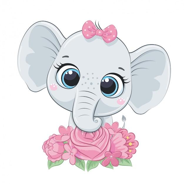 Lindo verano bebé elefante con flores. ilustración de vector para baby shower, tarjeta de felicitación, invitación de fiesta, impresión de camiseta de ropa de moda.
