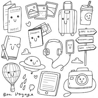 Lindo viaje dibujado a mano garabatos kawaii line art