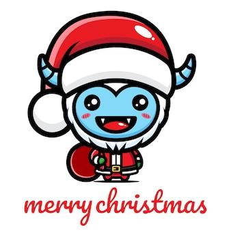 Lindo yeti celebrando la navidad