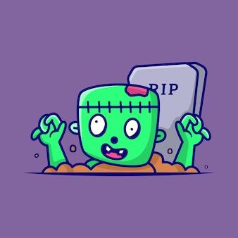 Lindo zombie frankenstein fuera de la ilustración de vector de dibujos animados de tumba, personaje de dibujos animados estilo de dibujos animados plana de halloween
