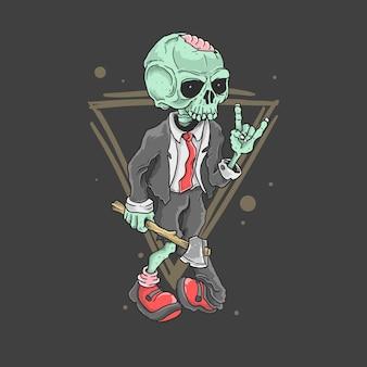 Lindo zombie rocker ilustración vectorial