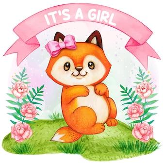 Lindo zorro acuarela, es una niña, ilustración de baby shower