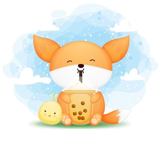 Lindo zorro bebé doodle con té de boba con personaje de dibujos animados de amigo chick