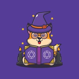 Lindo zorro bruja leyendo libro de hechizos linda ilustración de dibujos animados de halloween