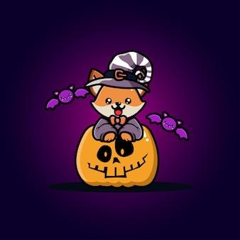 Lindo zorro con dibujos animados de calabaza de halloween