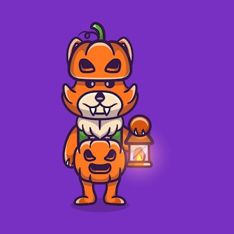 Lindo zorro con disfraz de calabaza de halloween