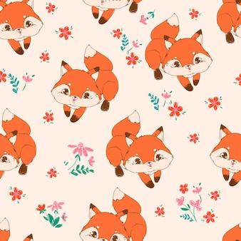 Lindo zorro y flores de patrones sin fisuras