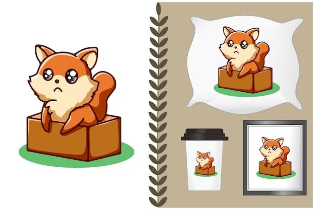 Lindo zorro en la ilustración de dibujos animados de caja