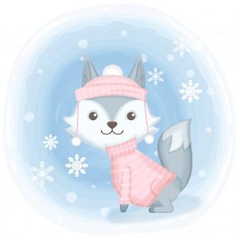 Lindo zorro con ilustración de dibujos animados de copo de nieve