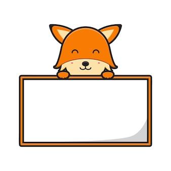 Lindo zorro con ilustración de vector de icono de dibujos animados de banner de tablero en blanco. diseño aislado en blanco. estilo de dibujos animados plana.